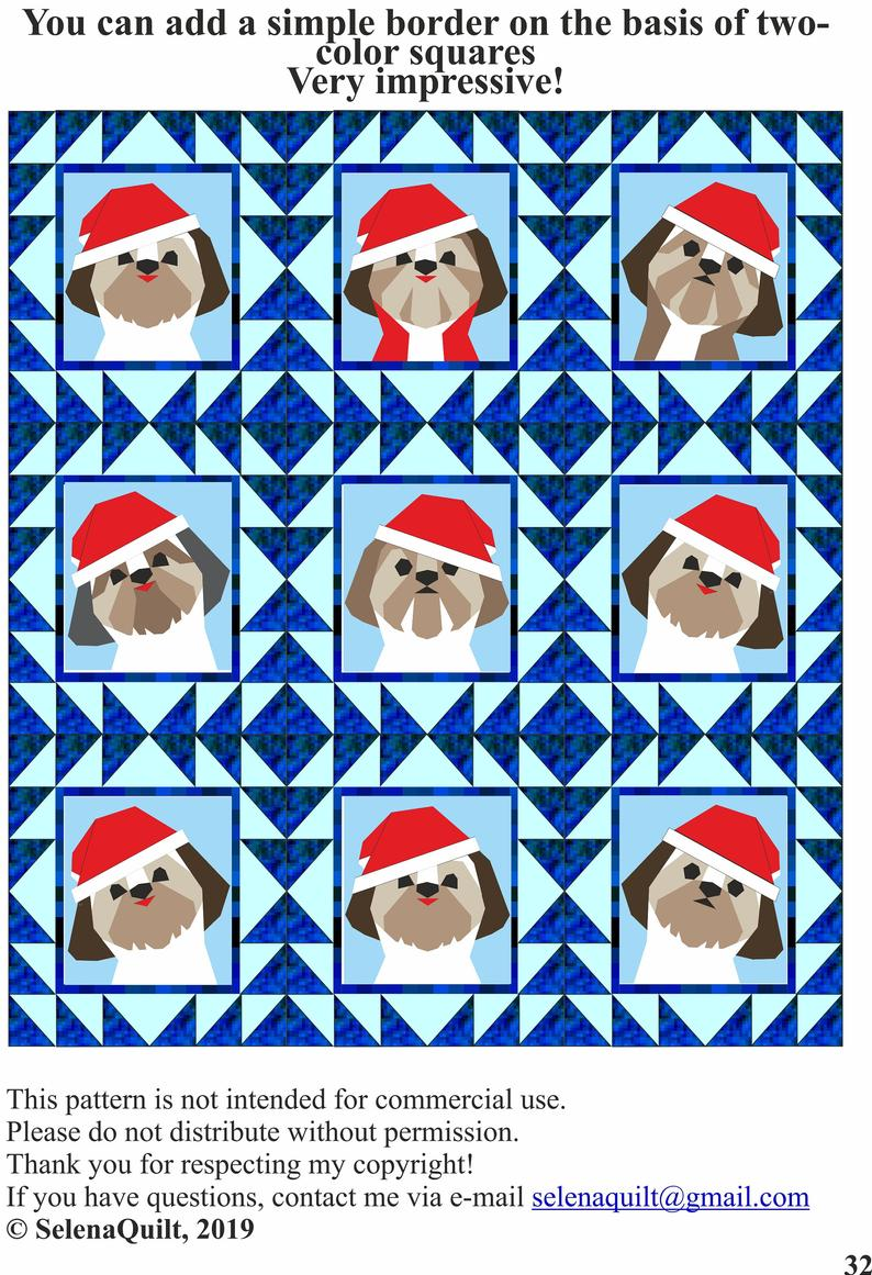 Shih Tzu Christmas quilt block pattern