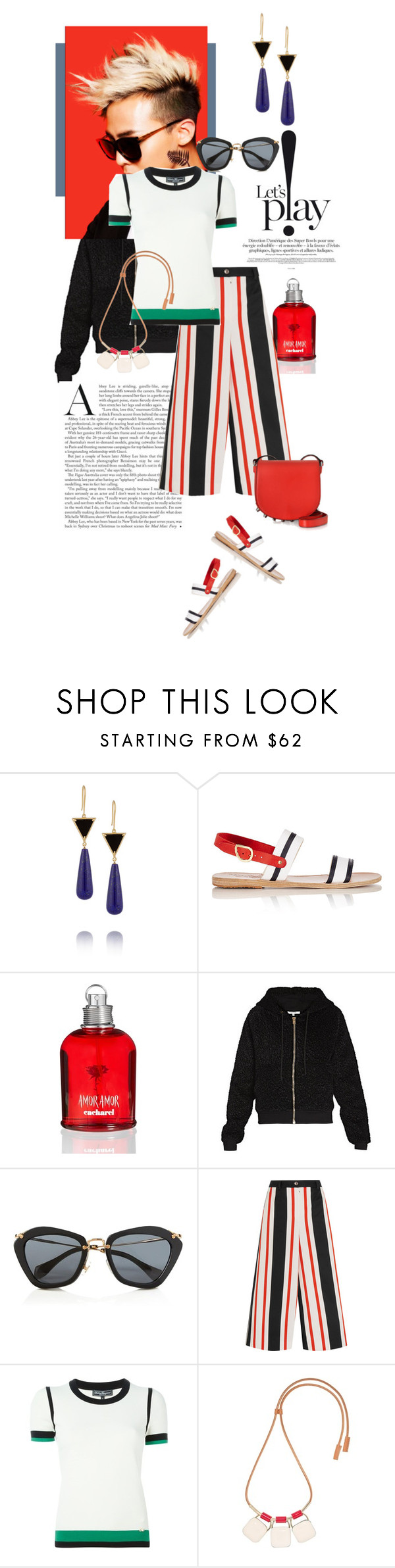 """""""Let's Play!"""" by mathilda-moo ❤ liked on Polyvore featuring Elizabeth and James, Ancient Greek Sandals, Cacharel, Carven, Miu Miu, Dolce&Gabbana, Salvatore Ferragamo, Marni, Alexander Wang and women's clothing"""
