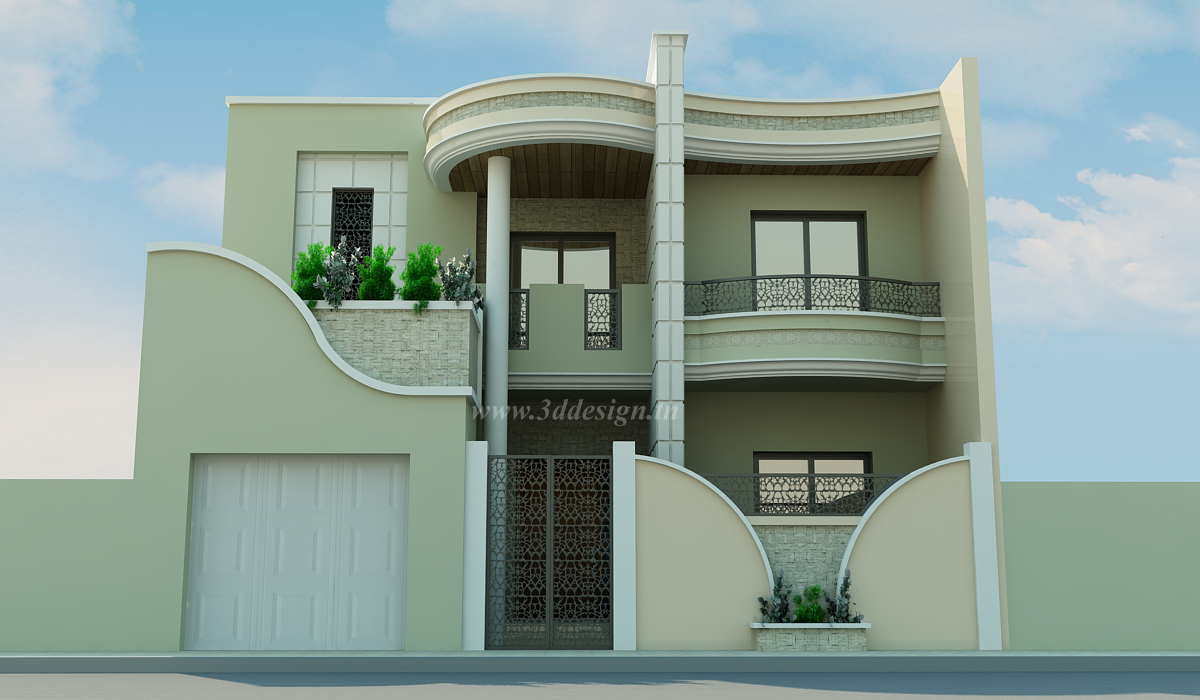 D co facade maison tunisie slt en 2019 pinterest house elevation house plans et house styles for Exterieur maison 3d