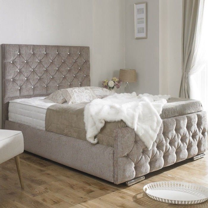 Clara diamond upholstered bed frame luxury fabric beds for Cheap divan bed frames