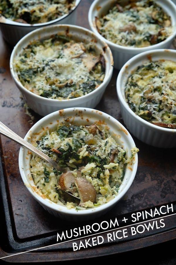 Mushroom Spinach Baked Rice Bowls Shutterbean Spinach Bake Baked Rice Ramekin Recipe