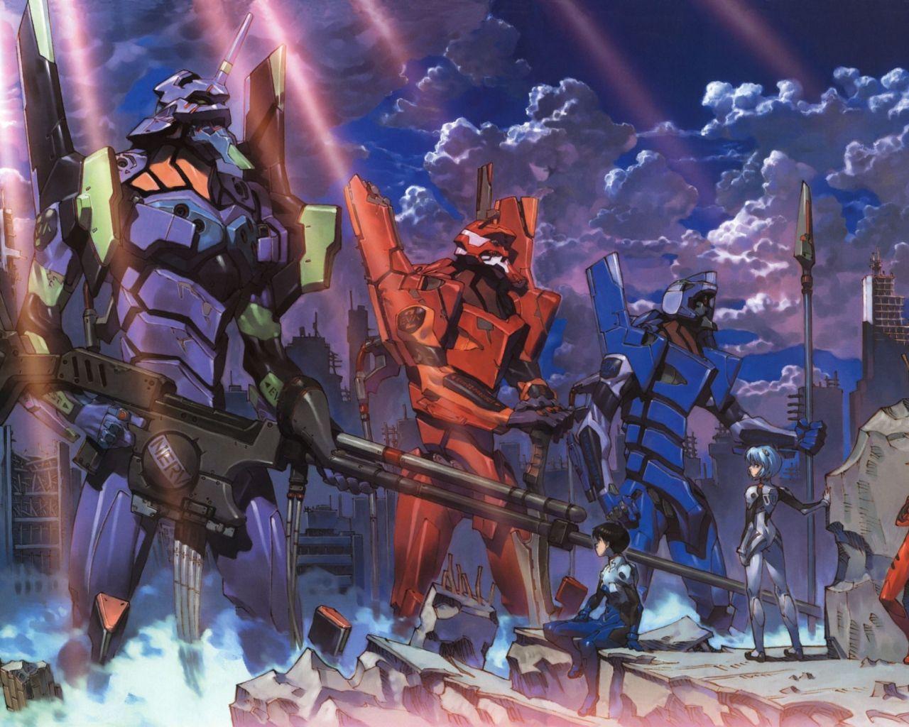 1280x1024 Wallpaper eva, robots, anime, evangelion
