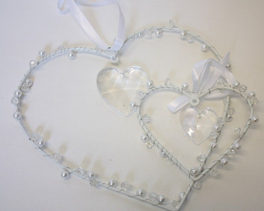 wire heart with smaller gauge wire wrapping with pearls, crystal ...
