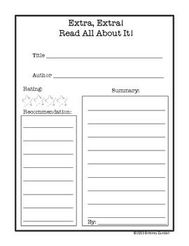 Book Review Templates With Graphic Organizers  Free Tt Read