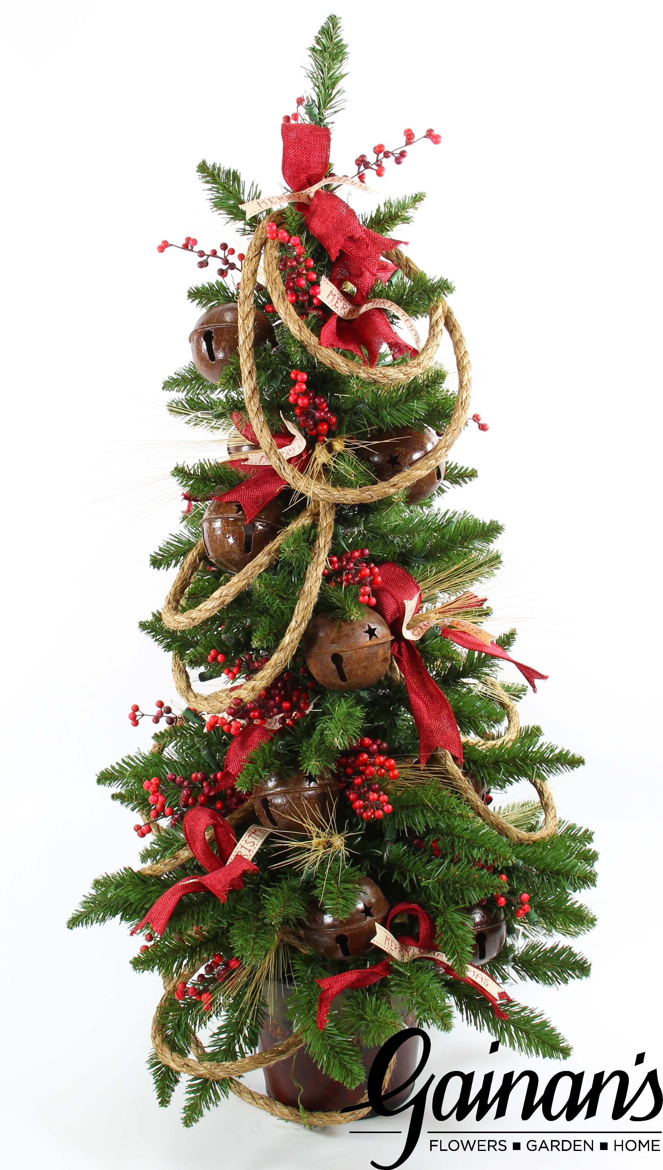 Rustic mini tree pre-lit with battery operated lights. A perfect ...