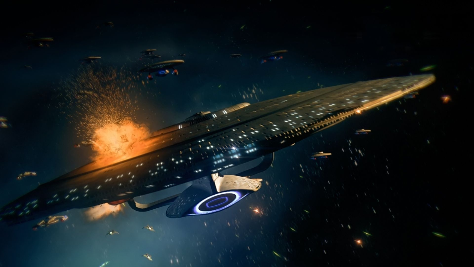 The Galaxy class Enterprise D from the Star Trek Th Next