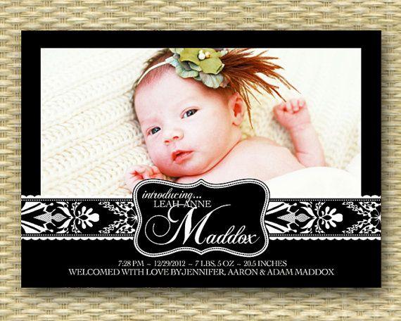 Custom Birth/Baby Announcement  Elegant by SunshinePrintables, $15.00