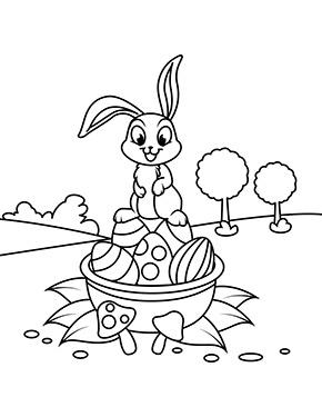 ausmalbild osterhase balanziert auf eiern zum ausmalen. #