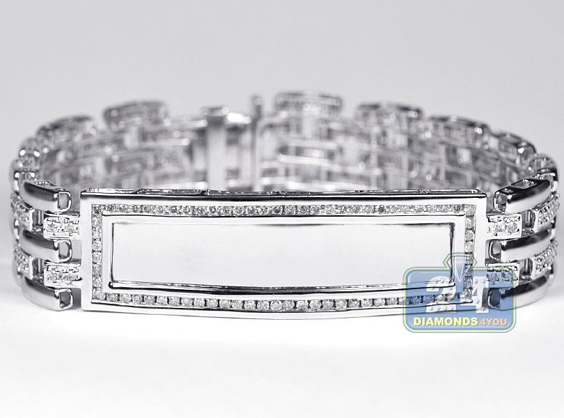 14K White Gold 270 ct Diamond Mens ID Name Bracelet 8 Inches