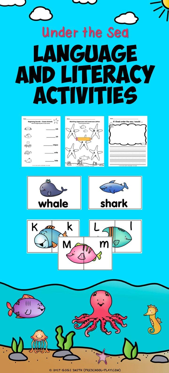 Under The Sea Language Literacy Activities Pack For Prek And Kindergarten Sea Activities Under The Sea Preschool Language Arts [ 1584 x 720 Pixel ]