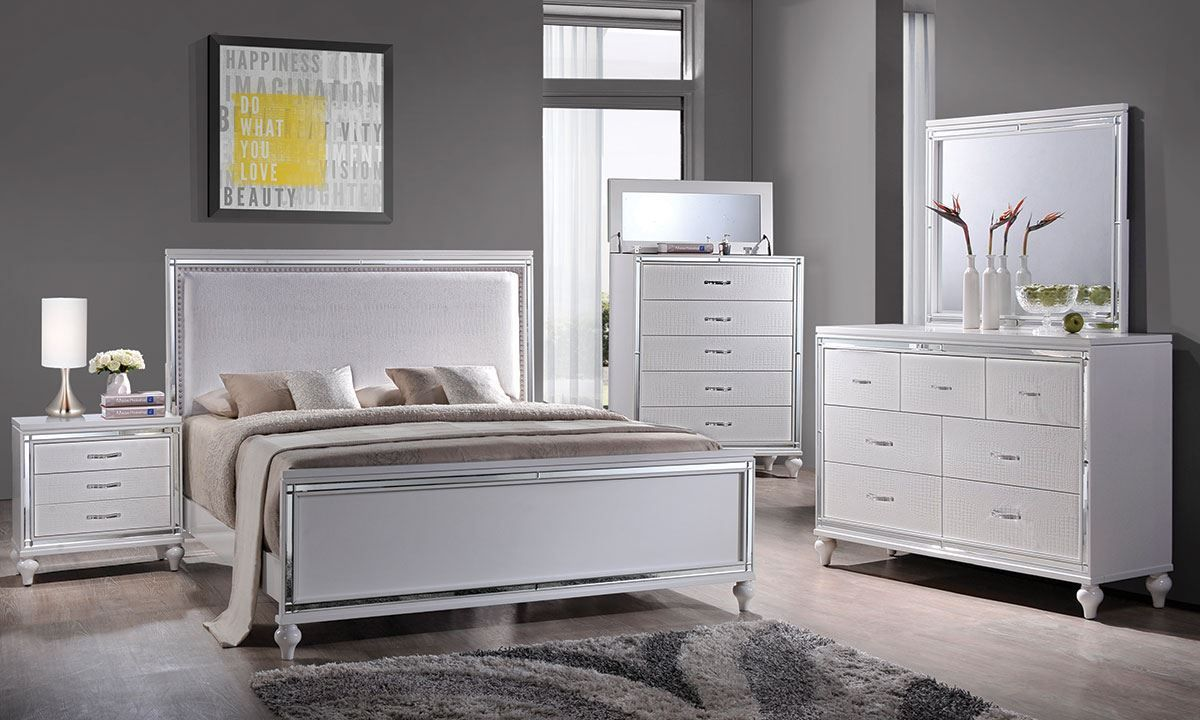 Miami White 6 Piece Upholstered Queen Bedroom White Bedroom Set