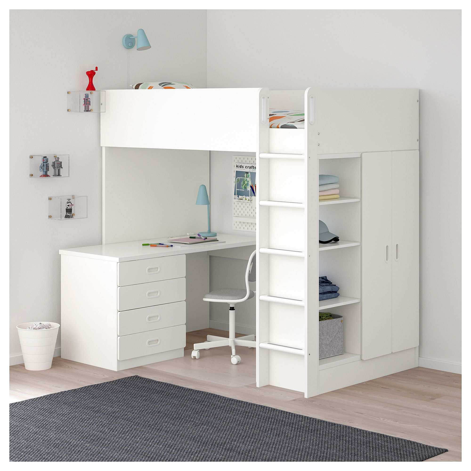 Loft bed with desk blue  IKEA  STUVA  FRITIDS Loft bed with  drawers doors white white