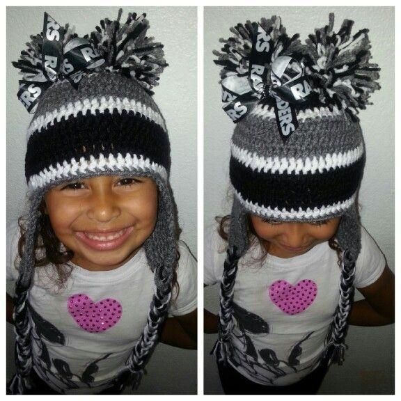 08bbfc60827 NFL OAKLAND RAIDERS GIRL S HANDMADE CROCHET BABY HAT BEANIE   BOOTIES  0-3  mos