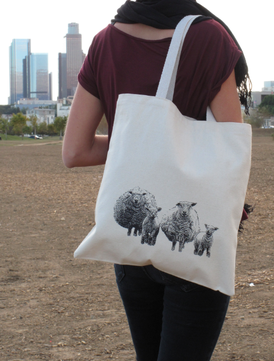 Screenprinted Canvas Tote Bag Sheep from nBhaTTi