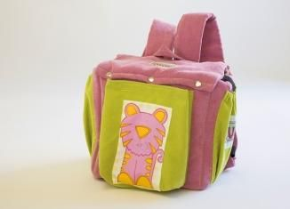 Trolley backpack, small size, pink and green with a cute lion.www.momstouch.co.il https://www.facebook.com/www.momstouch.co.il?ref=hl