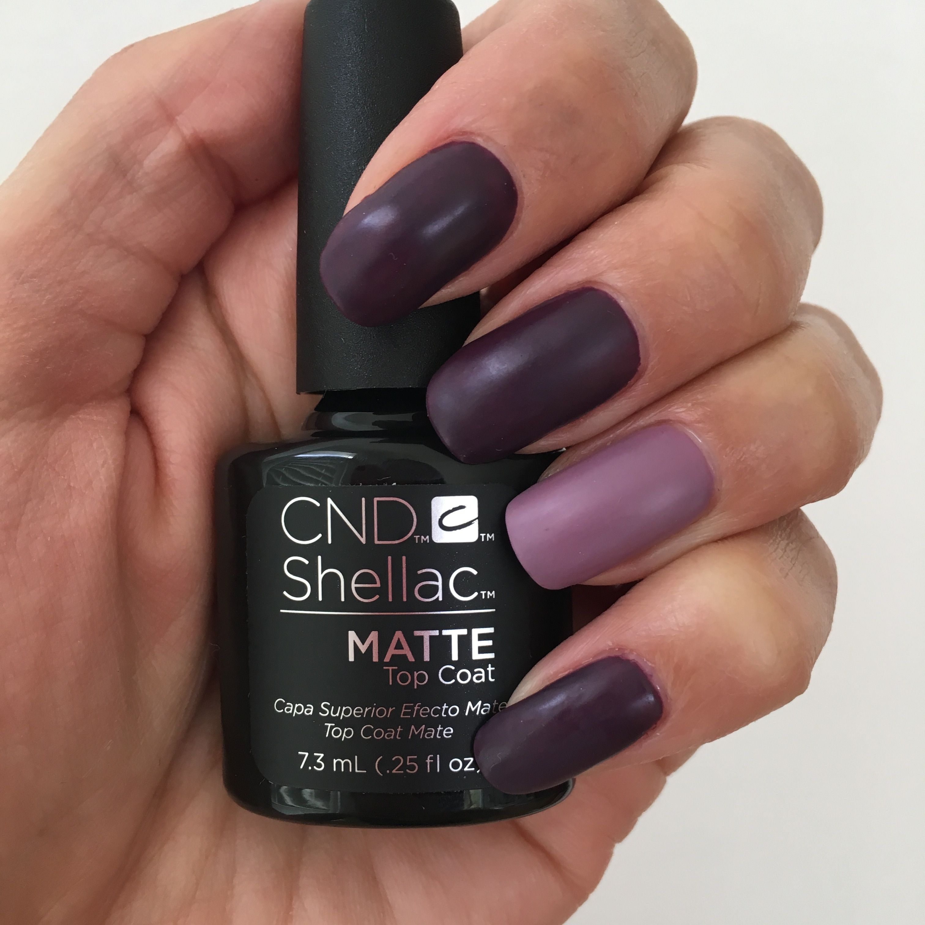 Tried the new CND Shellac Matte top coat with Rock Royalty and Lilac ...