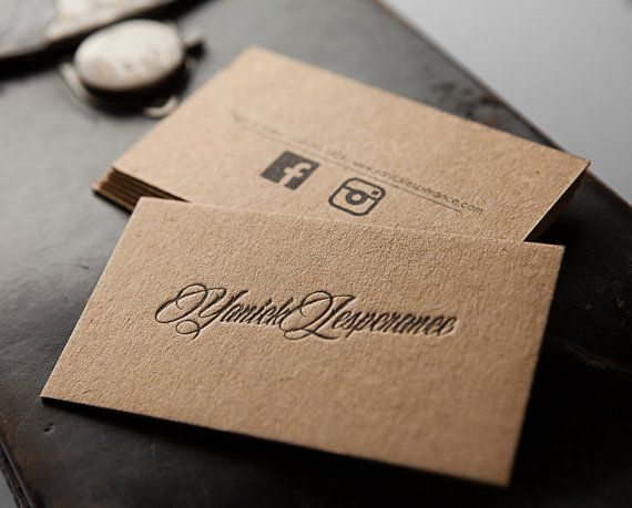 250 letterpress business cards thick brown kraft paper by for Zoum business cards