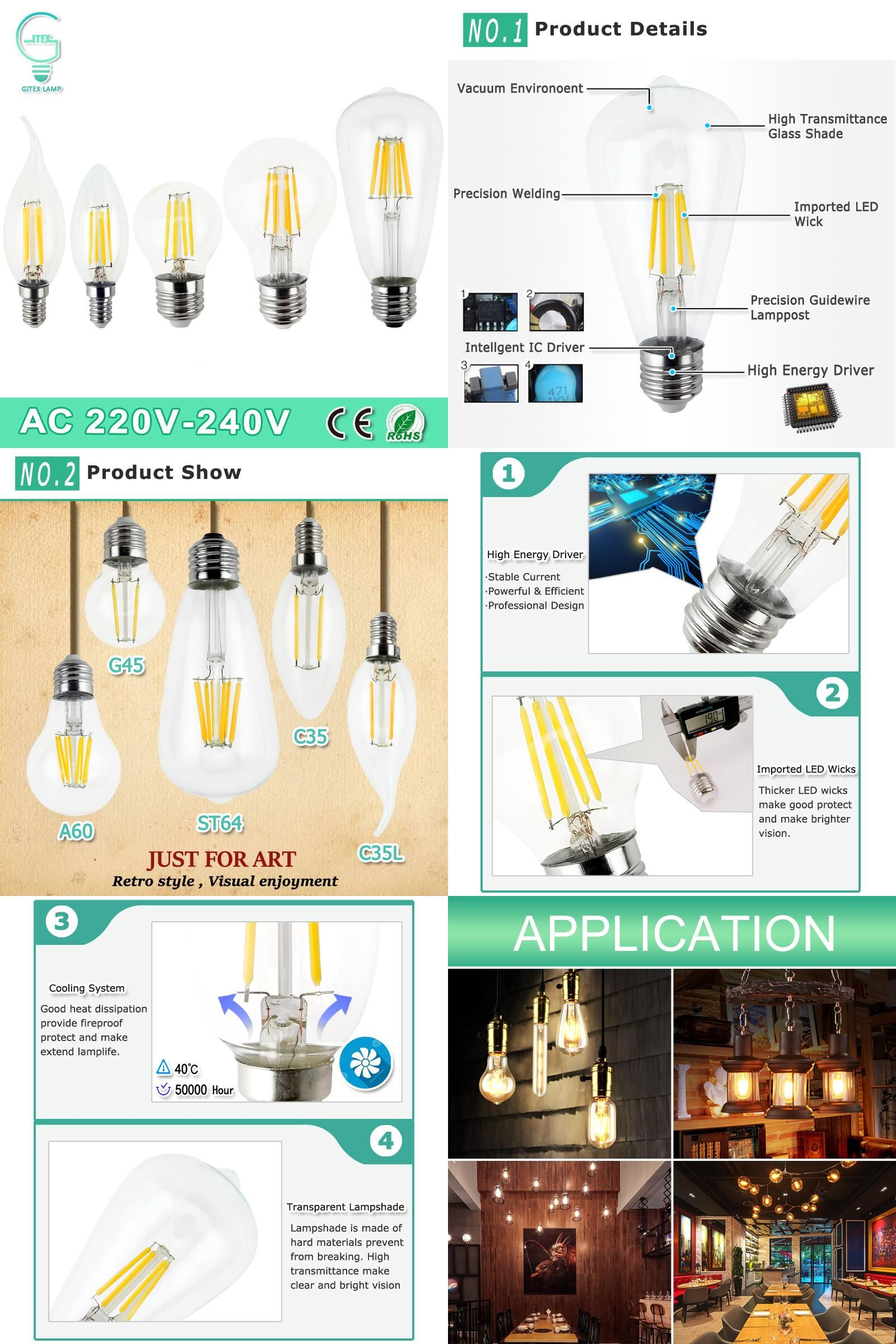 Visit To Buy Dimmable E27 Led Filament Light Glass Housing Bulb E14 Lamp 220v 2w 4w 6w 8w Led Fi Glass Candle Lighting Edison Bulb Lamp Vintage Edison Bulbs