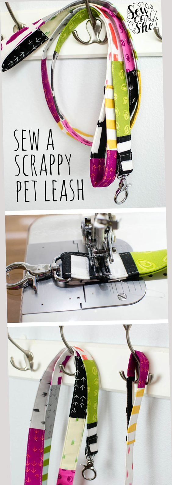 DIY Scrappy Pet Leash  free sewing tutorial is part of diy - Okay, for us this is a scrappy dog leash, but I wanted to keep your options open in case your pet is a (large) cat, a llama, or a mini horse! I came up with the idea because our faithful dog Indy is the only member of our household that I hadn't sewn for yet  Well, not anymore!