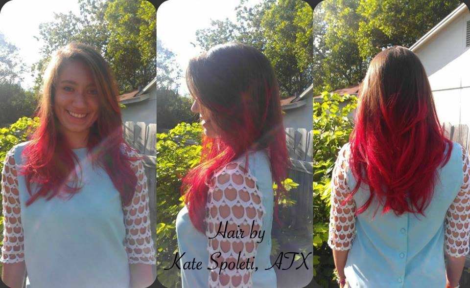 Red Ombre Hair. Vivid Red Color. Long Layered Hair.