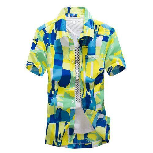 1df109c6862f Mens Hawaiian Shirt Male Casual camisa masculina Printed Beach Shirts Short  Sleeve brand clothing Asian Size 5XL