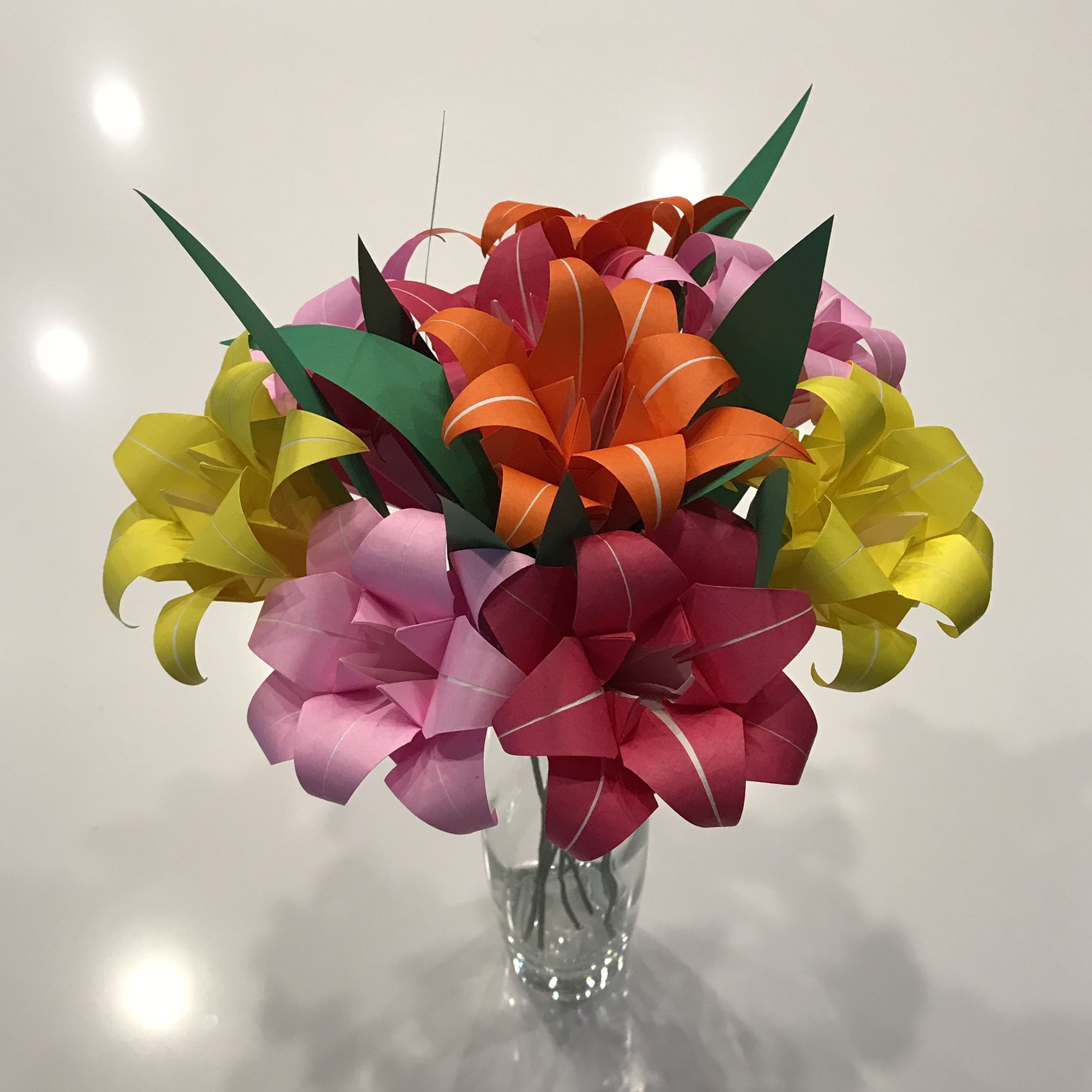 origami paper lily bouquet