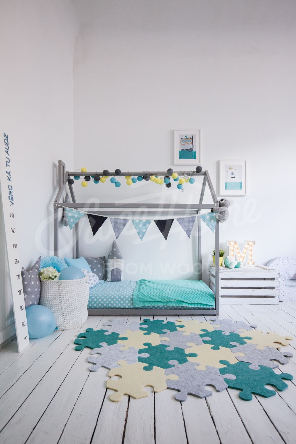 Mint And Grey Kids Room Interior Idea With Puzle Rug Carpet