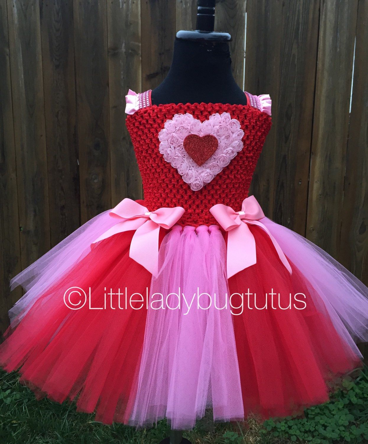 bfcbc576748a Pink Red Heart Tulle Tutu Dress. Valentines Day, Pageant, Photo Prop, Baby  Tutu, Toddler Tutu. by LittleLadybugTutus