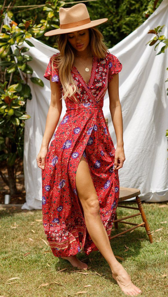 Red Floral Boho Sun Dress #summerdresses