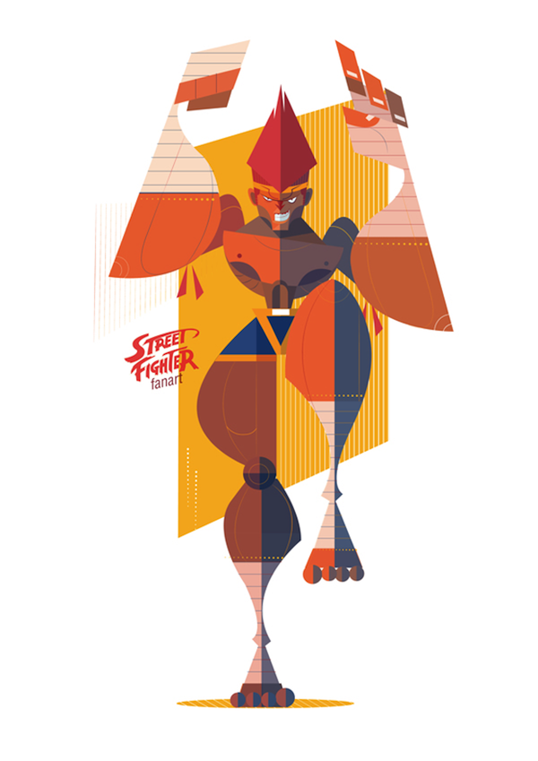 Bold, Geometric Illustrations of 'Street Fighter' Characters ...