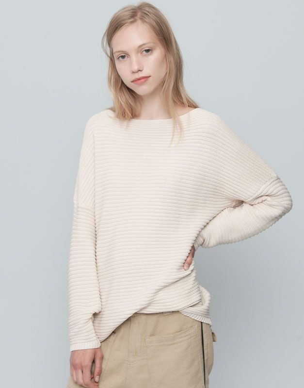 :COTTON LINKS SWEATER WITH BOAT NECK