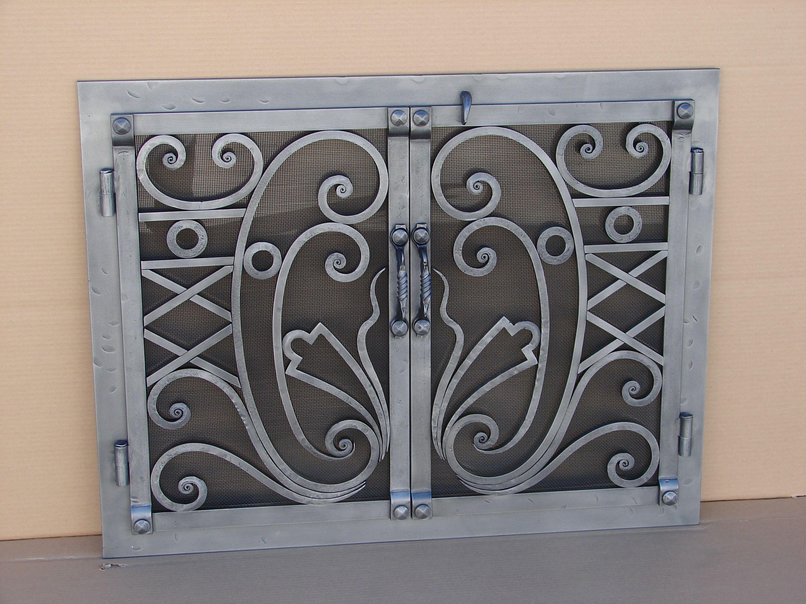 Custom Wrought Iron Fireplace Door Fireplace Doors Fireplace Cover