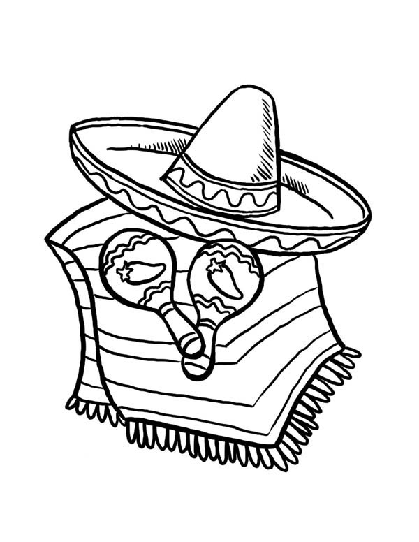 Sombrero And Caracas For Cinco De Mayo At At Mexican Fiesta Coloring Page Kids Play Color Coloring Pages Dance Coloring Pages Coloring Pages For Kids