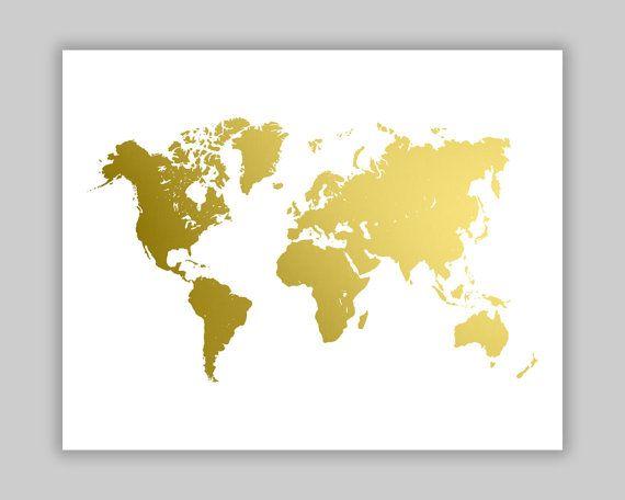 World map gold foil print gold foil map world map wall art world map gold foil print gold wall art gold foil typography gold home decor nursery art silver foil copper foil housewarming gift gumiabroncs Choice Image