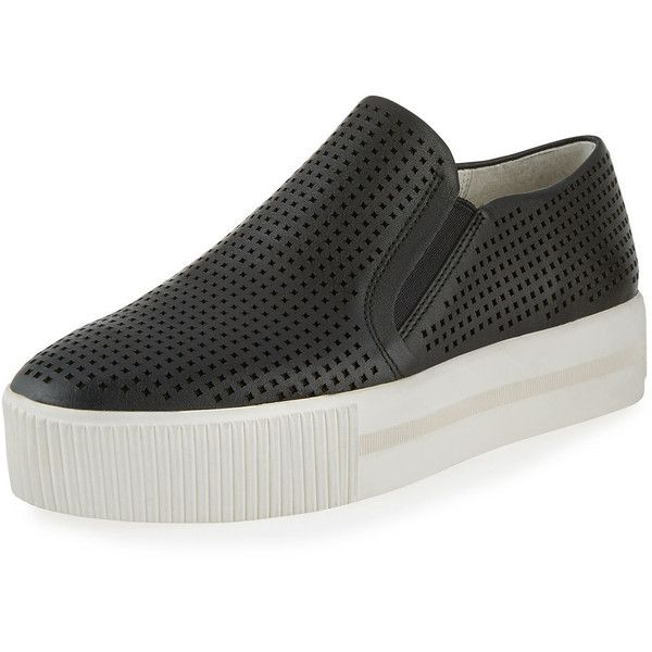 Ash Kurt Perforated Leather Slip-On Sneaker (165 CAD) ❤ liked on Polyvore featuring shoes, sneakers, black, slip on sneakers, leather platform sneakers, perforated slip on sneakers, leather sneakers and black slip-on shoes