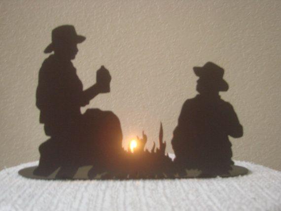 Western Cowboy Rodeo Theme Horse Campfire Tea Light Holder