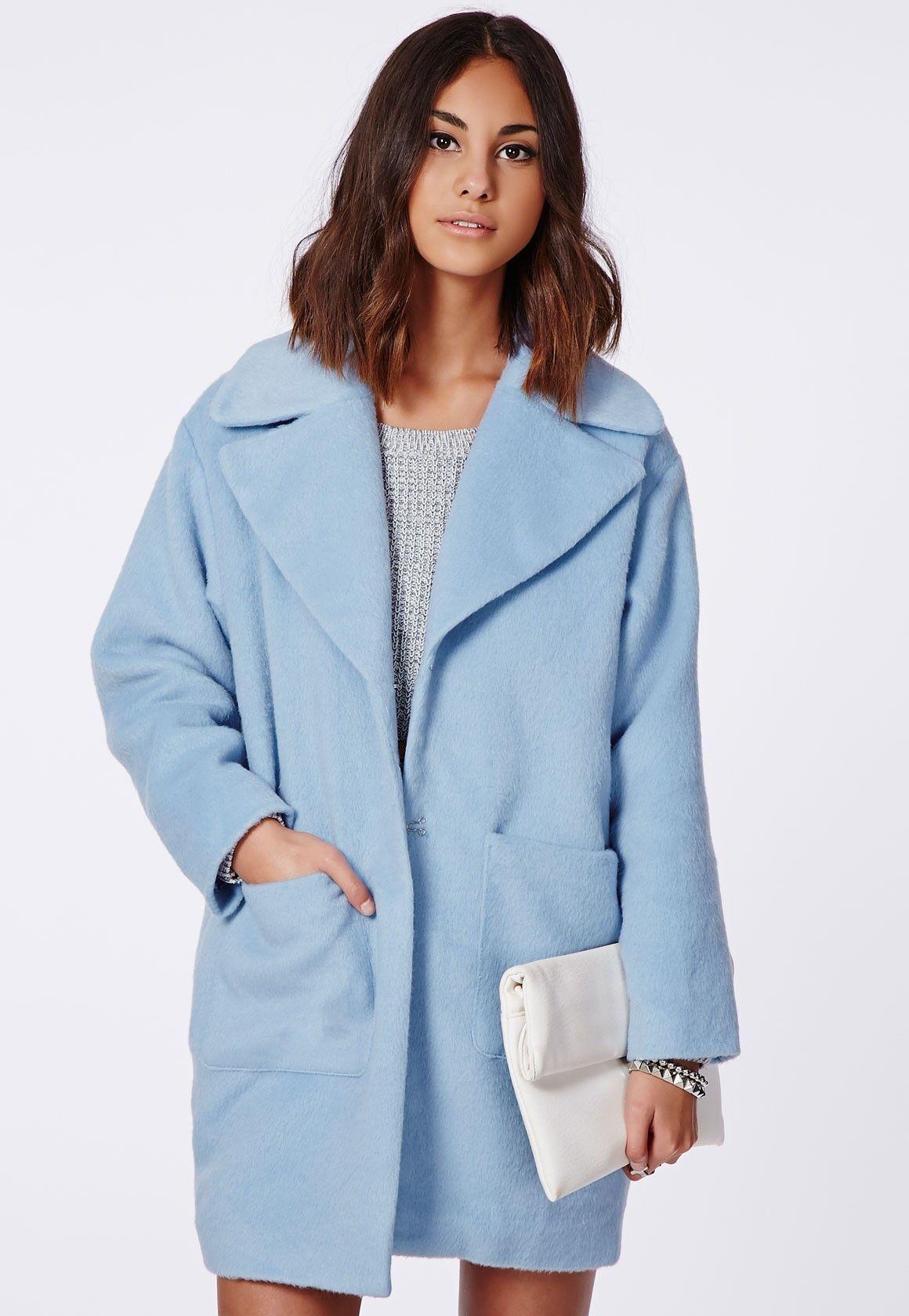 07001fec10 Lena Cocoon Coat Powder Blue - Coats And Jackets - Missguided ...