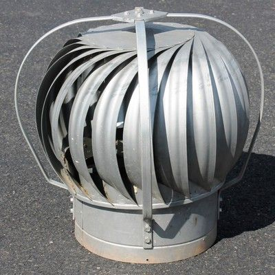 Large Vintage Galvanized Turbine Roof Attic Vent Fan Barn