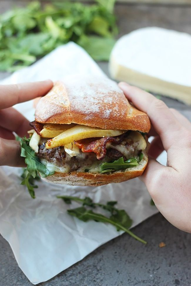 Bison Burgers with Brie, Bacon and Carmelized Pears~ This is one serious burger. Juicy, cheesy, sweet, spicy, crunchy and totally fabulous. / cookingforkeeps.com