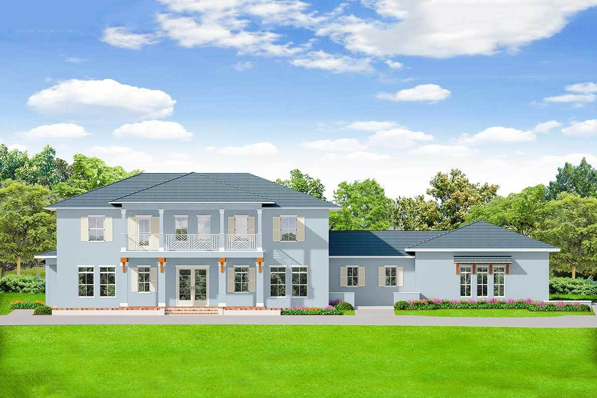 Plan 82241ka Stately 5 Bedroom House Plan With Upstairs Game Room And Upstairs Laundry Mediterranean Style House Plans Colonial House Plans Colonial House
