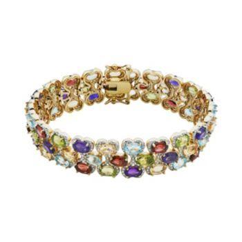 Gemstone 18k Gold Over Bronze Bracelet