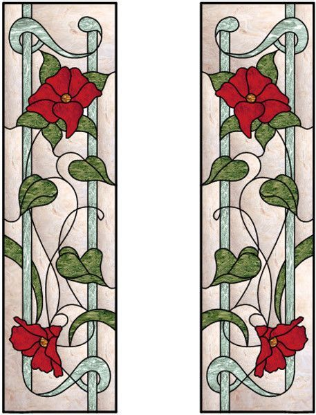 Vertical Stained Glass Window With Flowing Roses Design sg - vertical designs