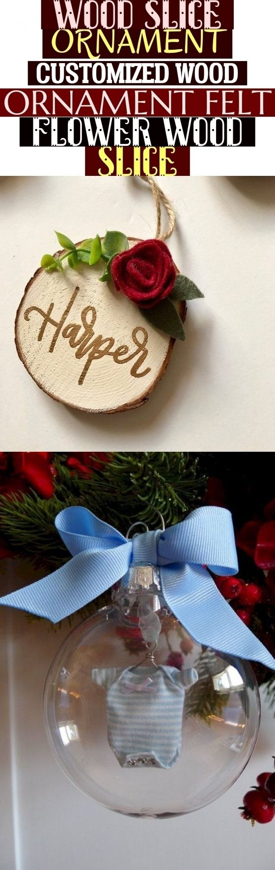 Wood Slice Ornament Customized Wood Ornament Felt Flower Wood Slice , #baby holz...