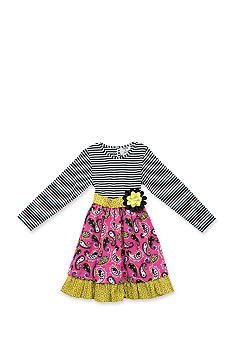 Jumping Fences by Rare Editions Stripe to Paisley Dress Girls 4-6x