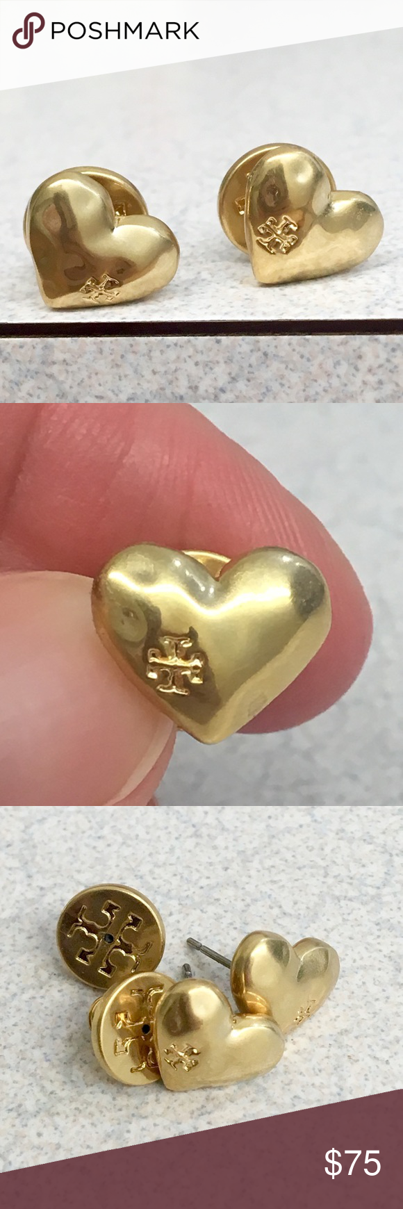 f65c361c5 Gorgeous NWOT Tory Burch Heart ❤ Stud Earrings! Brass with a vintage-gold  finish and comes accented with an engraved logo. Post closure Height: 0.44
