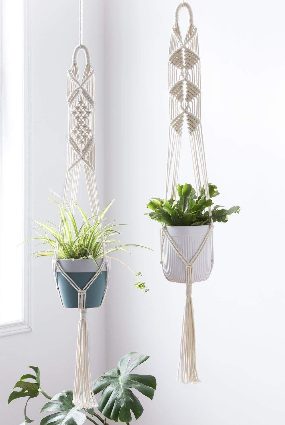 Amazon Com Mkono Macrame Plant Hanger Indoor Wall Hanging Planter Basket Flower Pot Holder Boho Home D In 2020 Plant Hanger Crochet Plant Hanger Macrame Plant Hangers