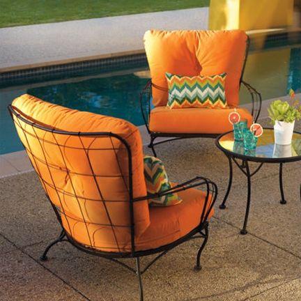Grandin Road Metal Mid Century Retro Modern Outdoor Chair