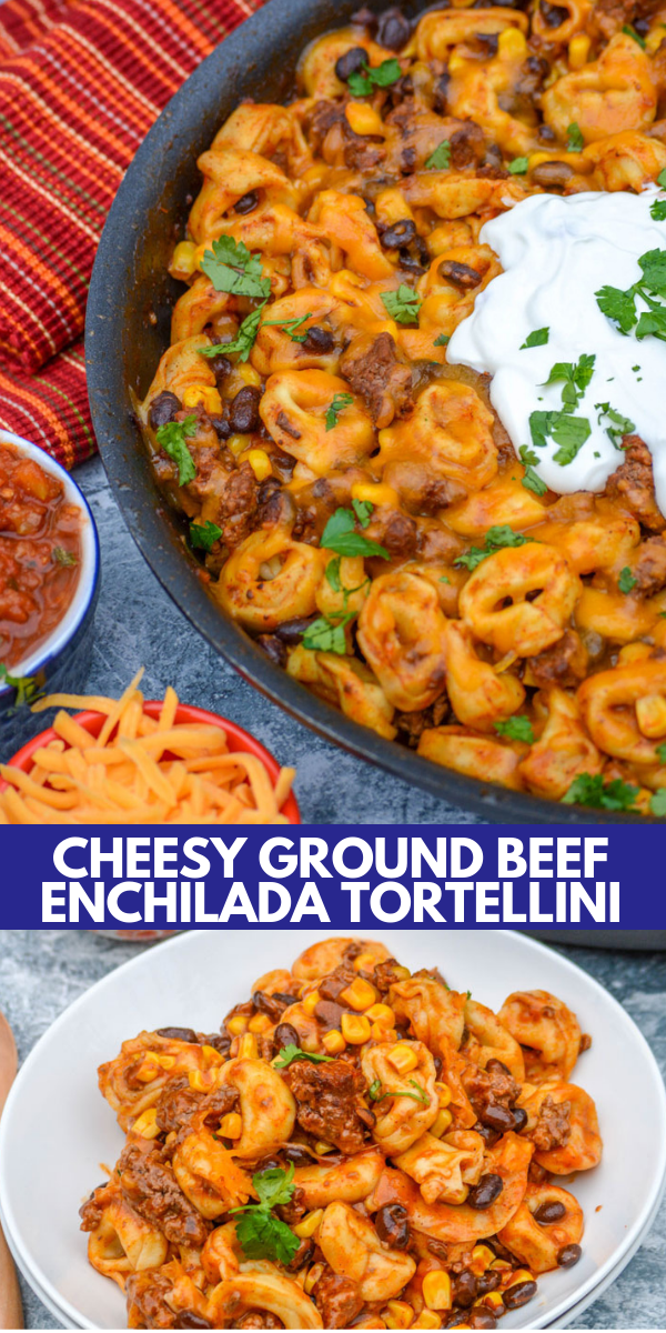 Cheesy Ground Beef Enchilada Tortellini - 4 Sons 'R' Us