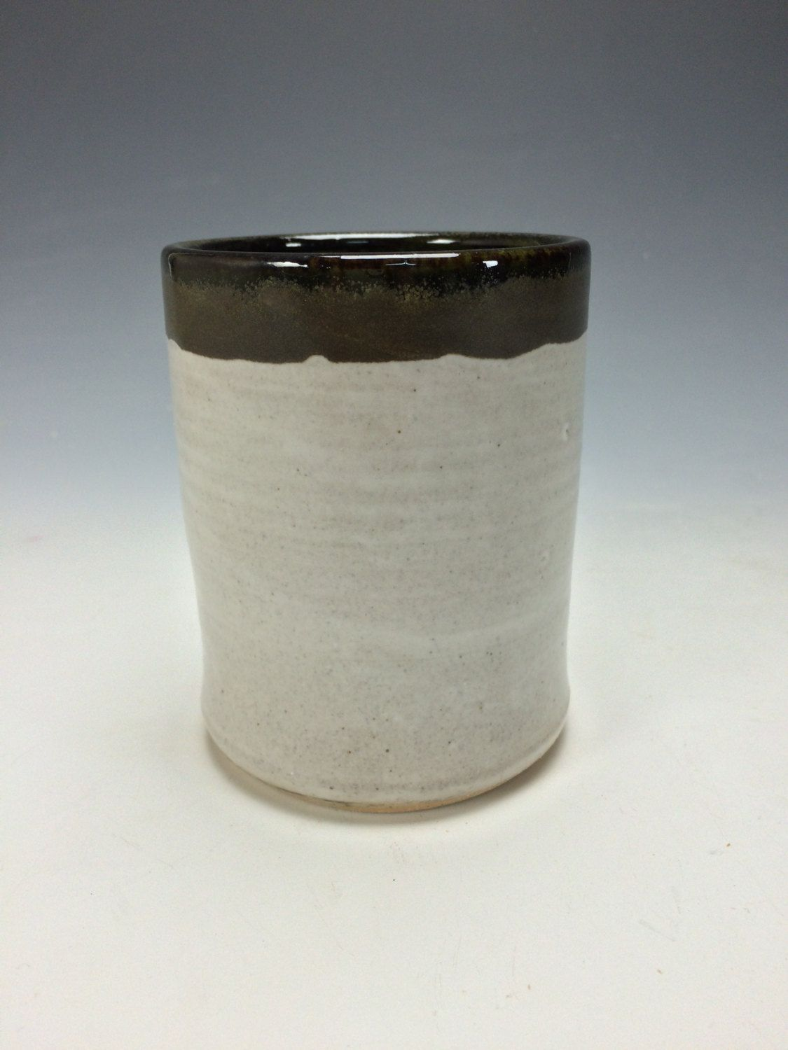 White Black And Moss Green Spotted Ceramic Tumbler Clay