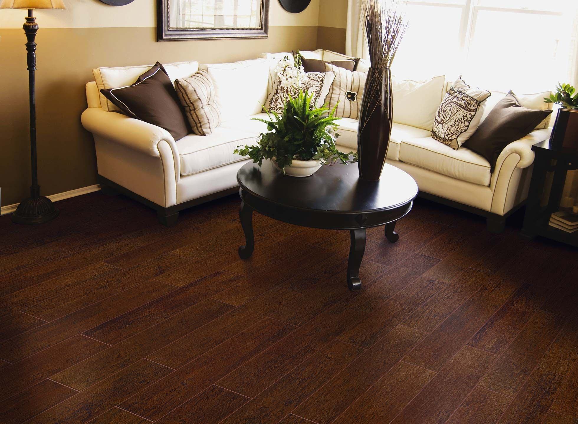 Dark Walnut Porcelain Wood Tile With Espresso And White Furniture